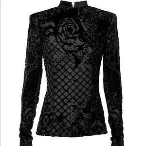 BALMAIN H@M Black Velvet Blouse Tunic 4